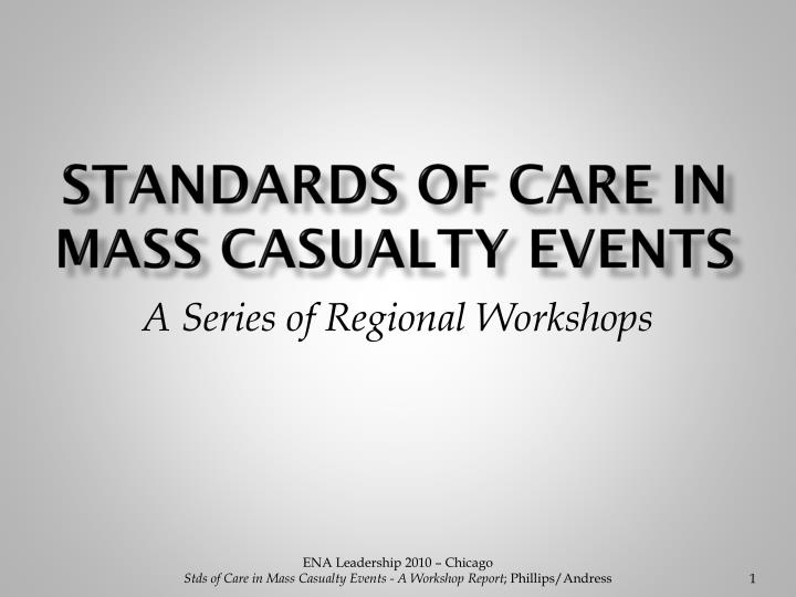 Standards of care in mass casualty events