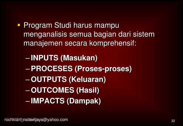 Program Studi harus mampu menganalis