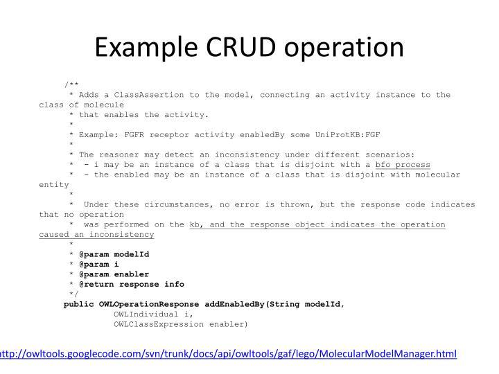 Example CRUD operation