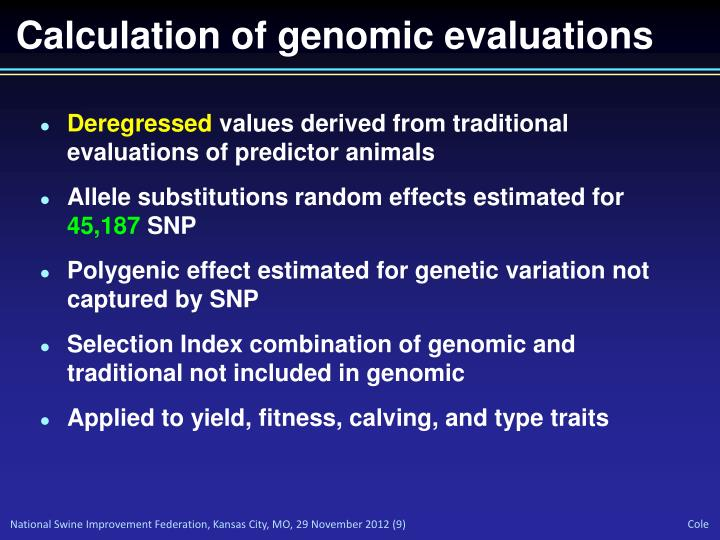 Calculation of genomic evaluations