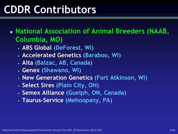 CDDR Contributors