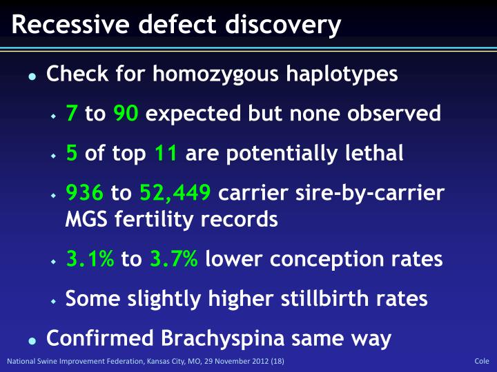 Recessive defect discovery