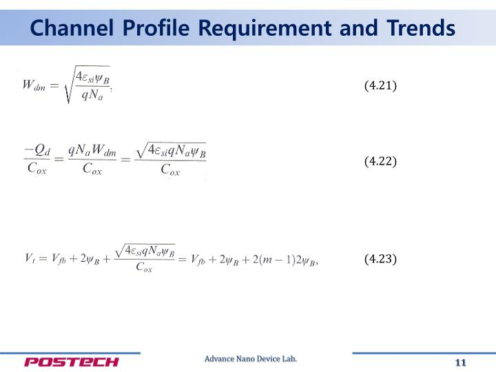 Channel Profile Requirement and Trends