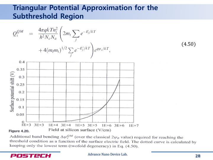 Triangular Potential Approximation for the