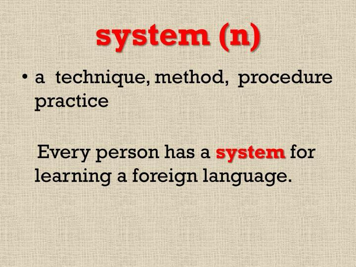 system (n)