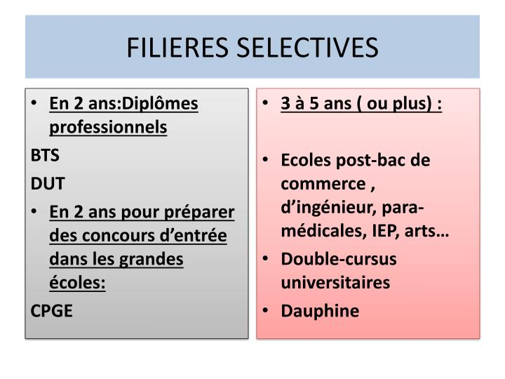 Filieres selectives