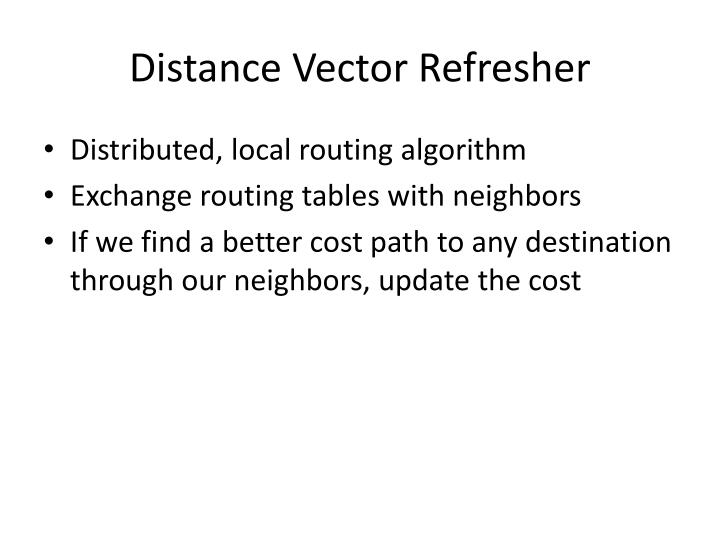 Distance Vector Refresher