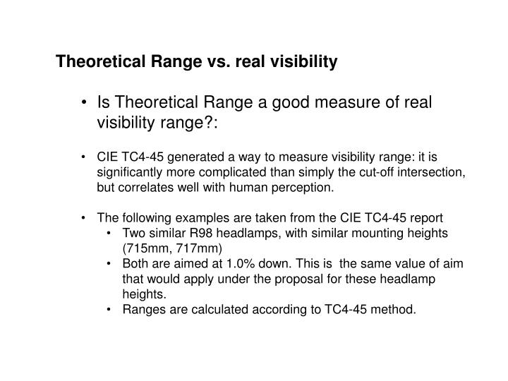 Theoretical Range vs. real visibility