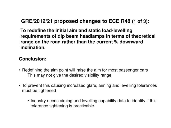 GRE/2012/21 proposed changes to ECE R48