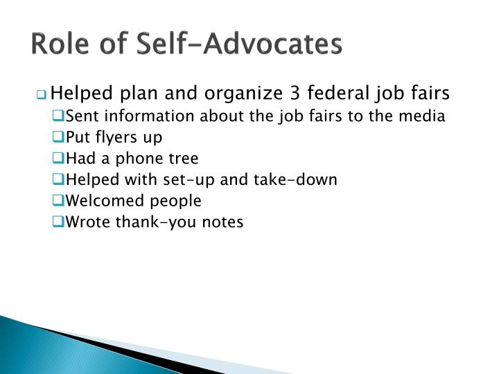 Role of Self-Advocates