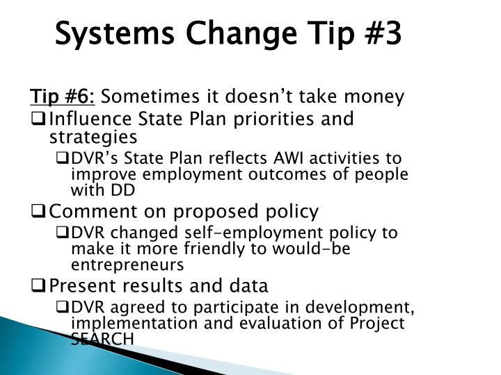 Systems Change Tip #3