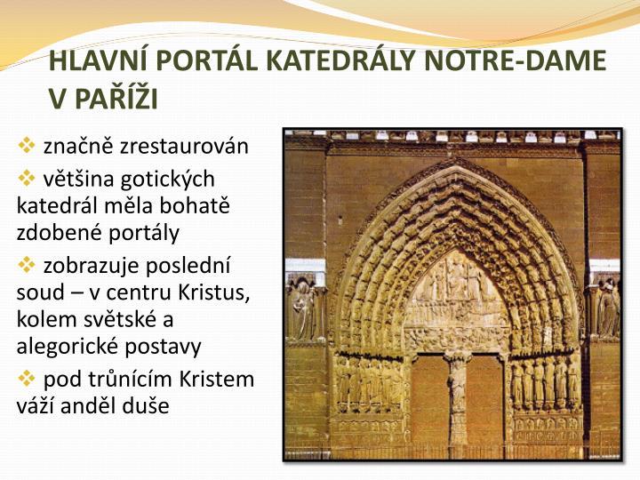 HLAVNÍ PORTÁL KATEDRÁLY NOTRE-DAME