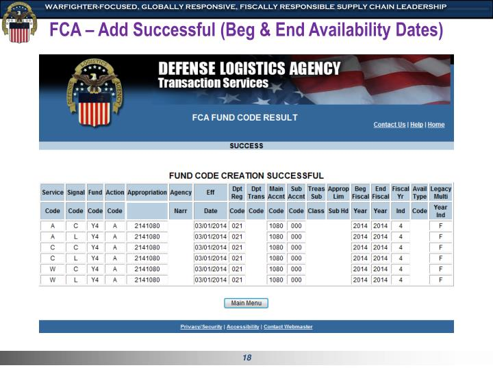 FCA – Add Successful (Beg & End Availability Dates)
