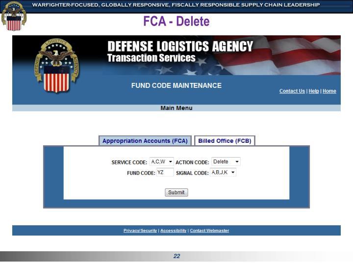 FCA - Delete