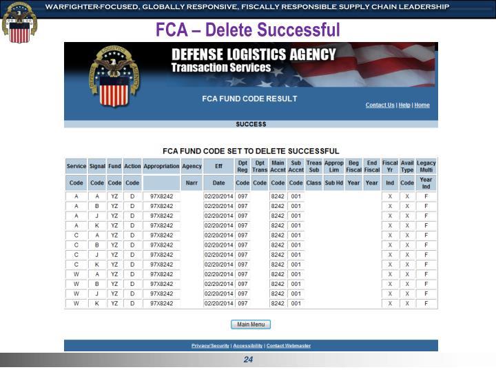 FCA – Delete Successful