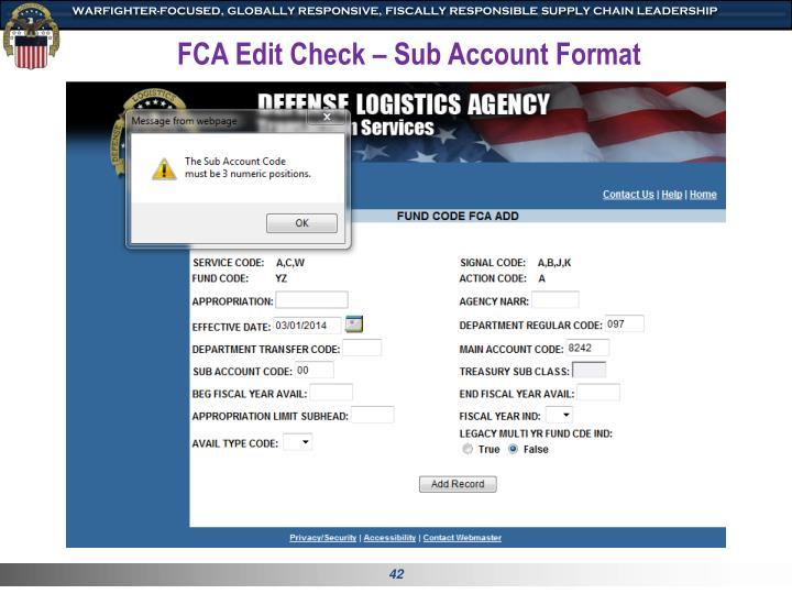 FCA Edit Check