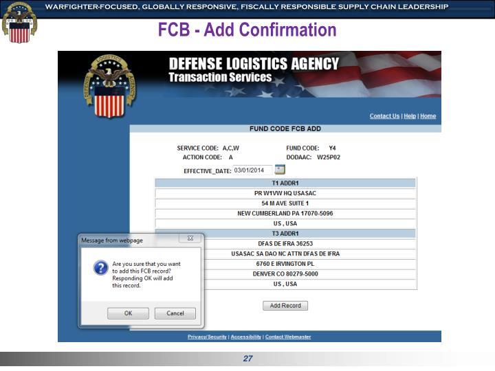 FCB - Add Confirmation