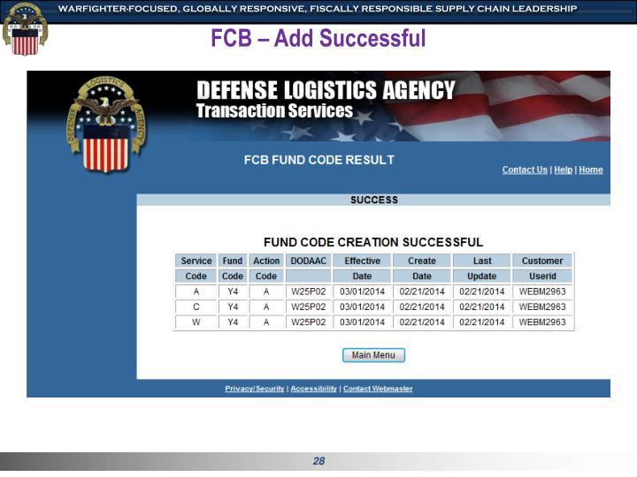 FCB – Add Successful