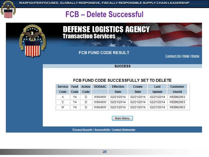 FCB – Delete Successful