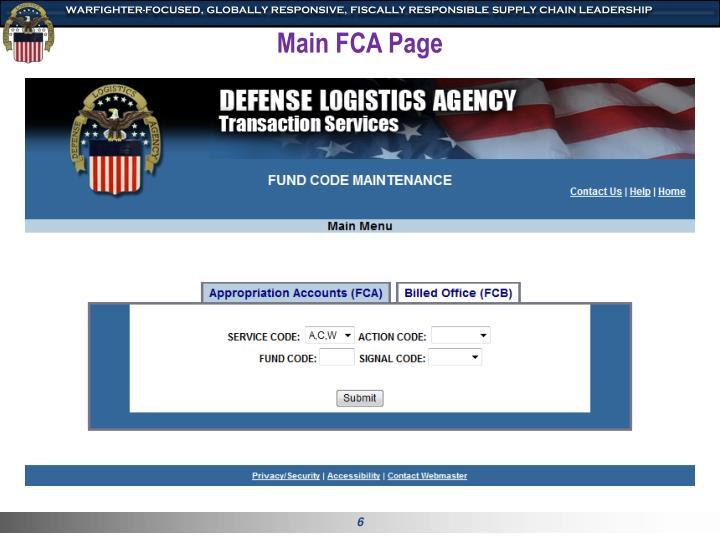 Main FCA Page