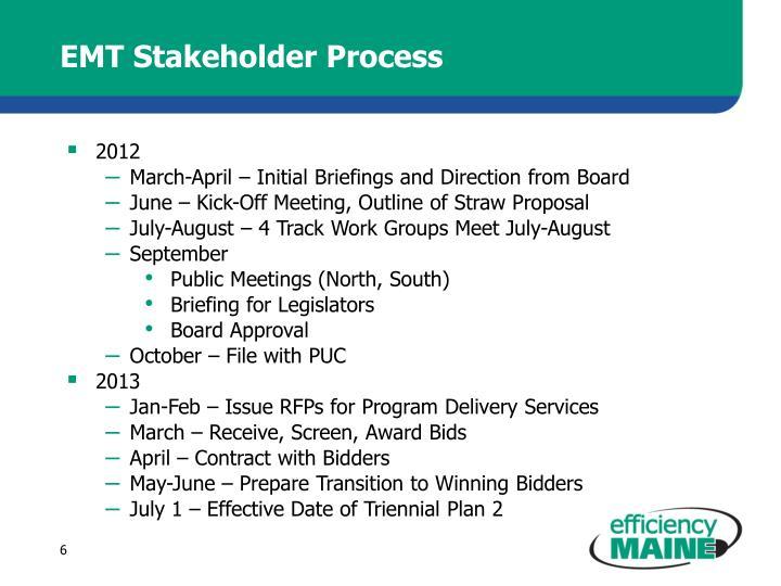 EMT Stakeholder Process