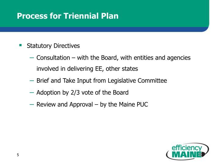 Process for Triennial Plan