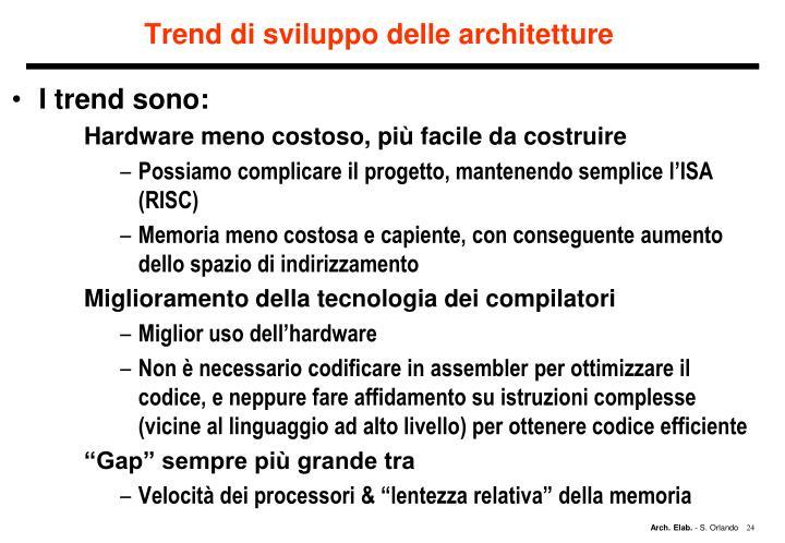 Trend di sviluppo delle architetture