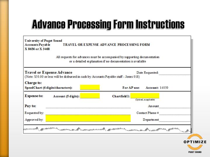 Advance Processing Form Instructions
