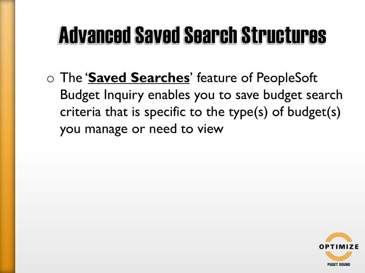 Advanced Saved Search Structures