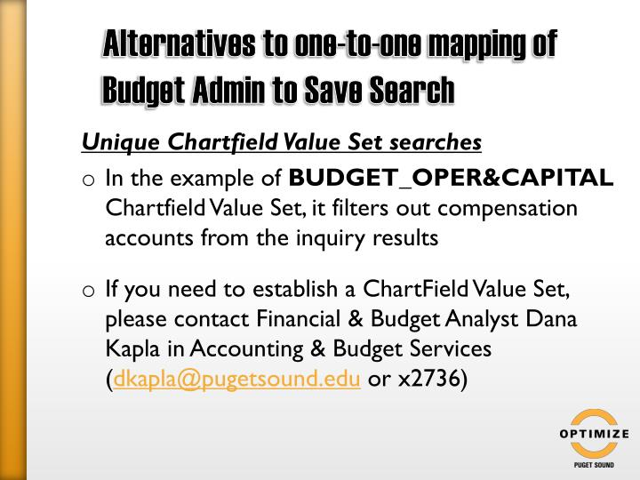 Alternatives to one-to-one mapping of Budget Admin to Save Search