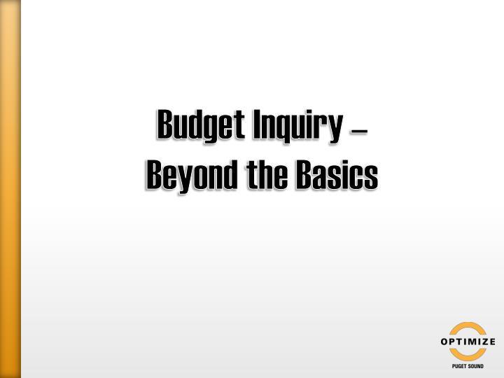 Budget Inquiry –