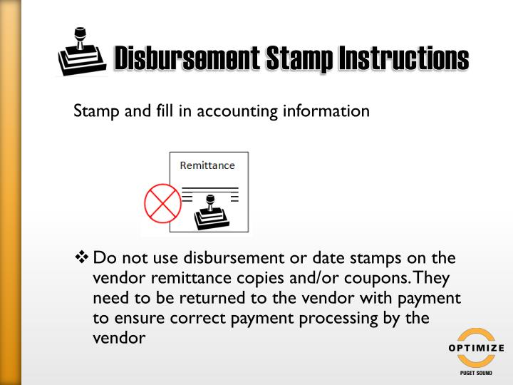 Disbursement Stamp Instructions