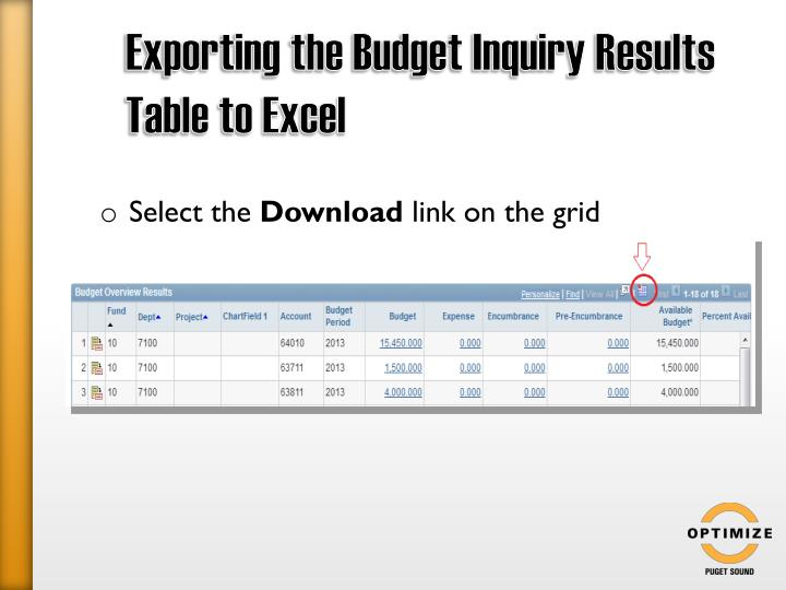 Exporting the Budget Inquiry Results Table to Excel
