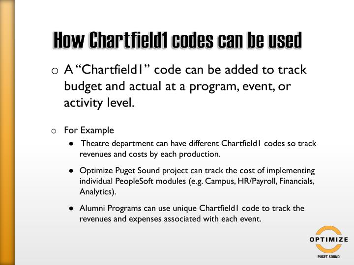 How Chartfield1 codes can be used