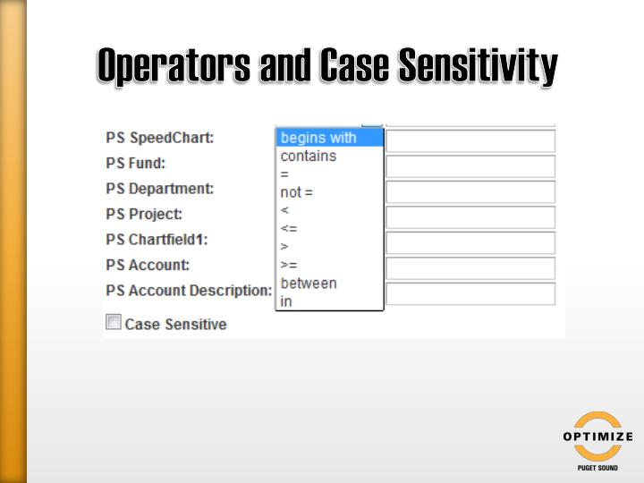 Operators and Case Sensitivity