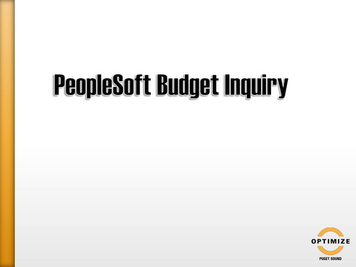 PeopleSoft Budget Inquiry