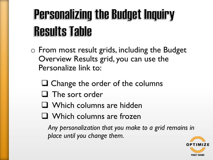 Personalizing the Budget Inquiry Results Table