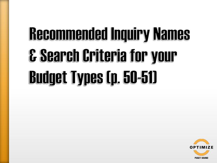 Recommended Inquiry Names & Search Criteria for your Budget Types (p. 50-51)