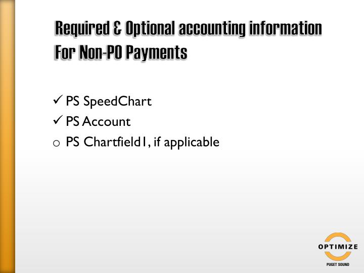 Required & Optional accounting information