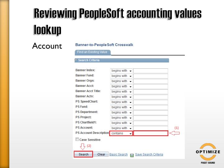 Reviewing PeopleSoft accounting values lookup