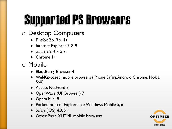 Supported PS Browsers