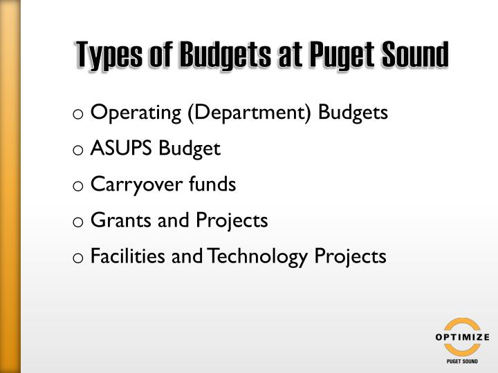 Types of Budgets at Puget Sound