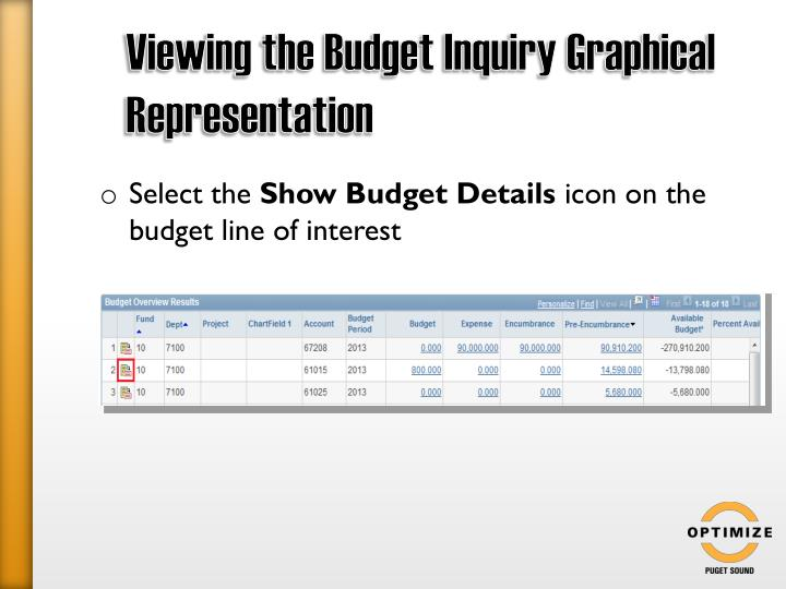 Viewing the Budget Inquiry Graphical Representation