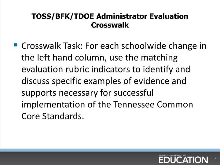TOSS/BFK/TDOE Administrator Evaluation Crosswalk