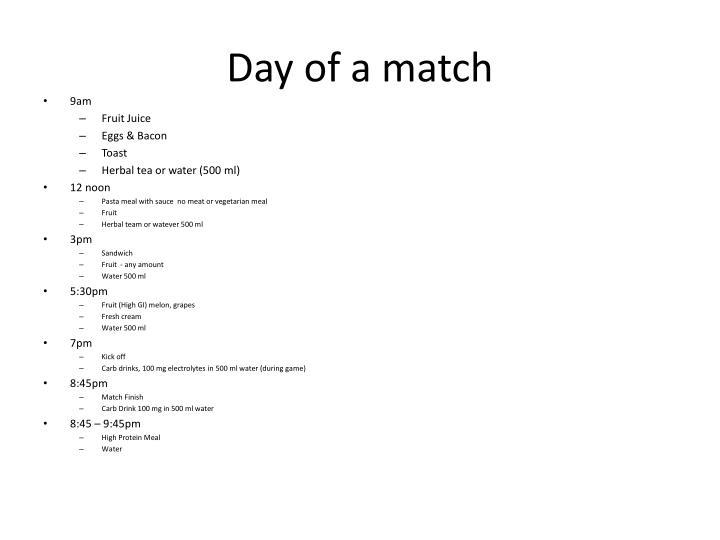 Day of a match