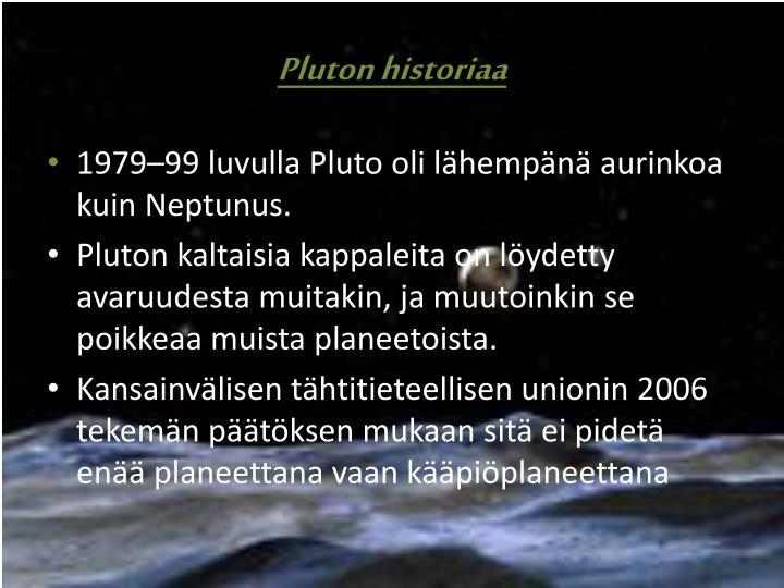 Pluton historiaa