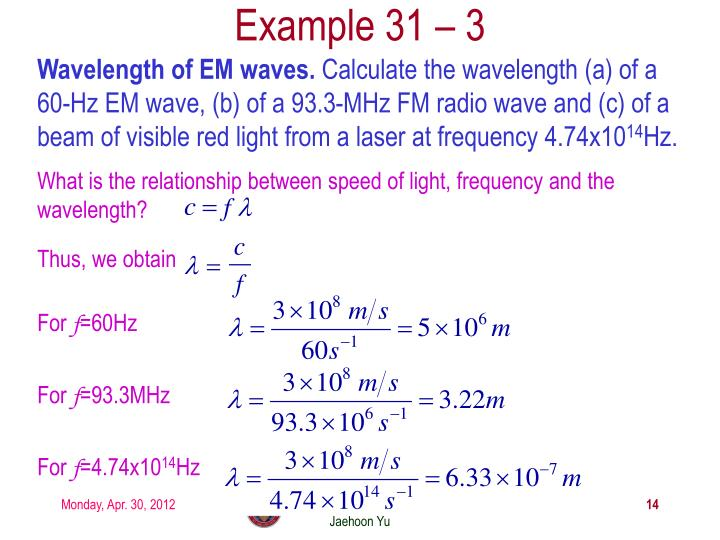 Wavelength of EM waves.