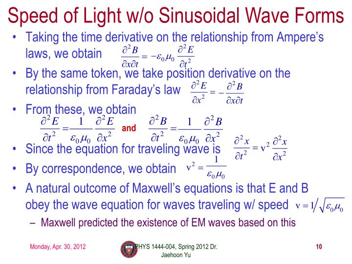 Speed of Light w/o Sinusoidal Wave Forms
