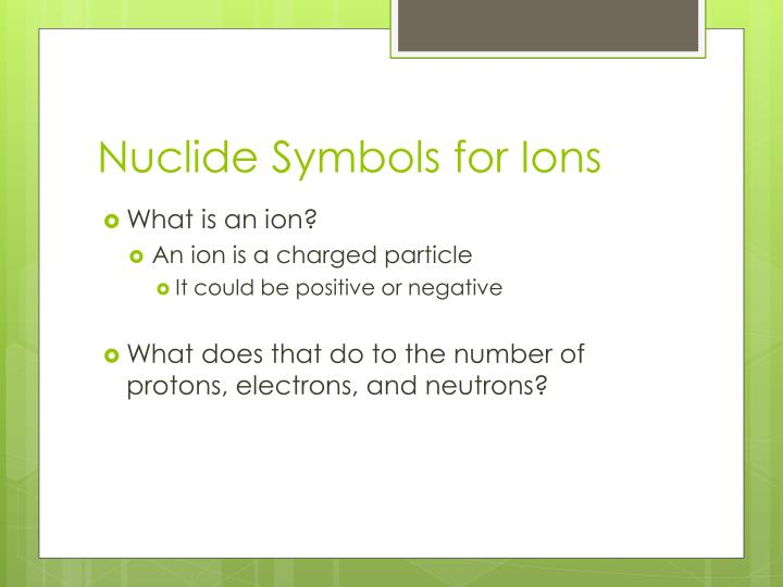 Nuclide Symbols for Ions