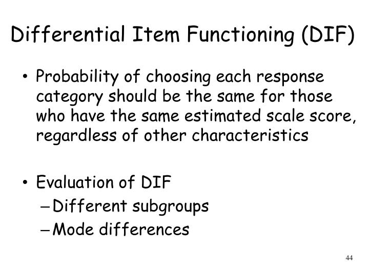Differential Item Functioning (DIF)